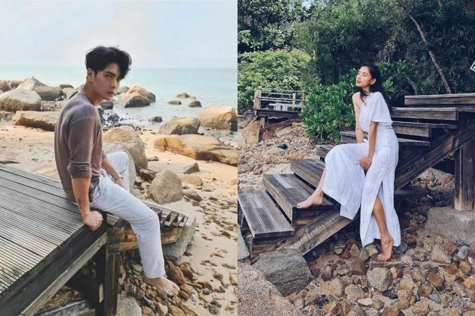 Tháng 11 năm ngoái, cả hai cũng có chuyến du lịch ở vịnh Ninh Vân. Cặp đôi chọn trang phục có màu sắc và chất liệu đồng điệu, toát lên cảm giác mát mẻ, thanh lịch khi đi biển.