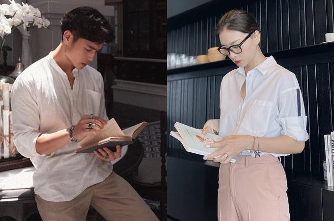 Chàng Việt kiều Đức và nàng đả nữ màn ảnh Việt tìm thấy sự ăn ý trong phong cách thời trang. Cả hai đều là tín đồ của style ăn mặc tối giản, hạn chế chi tiết cũng như màu sắc. Những món đồ như sơ mi, quần vải, áo phông basic... được cặp đôi liên tục sử dụng.