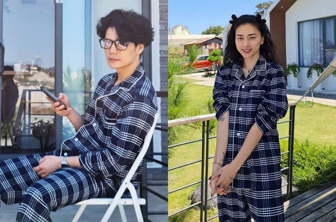 Ngô Thanh Vân và bạn trai có sở thích diện pyjama đôi. Dịp Tết vừa rồi, cả hai cùng đi Đà Lạt và khoe ảnh mặc đồ họa tiết caro trẻ trung.